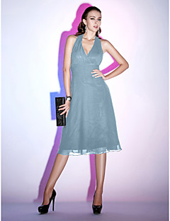 billiga Den lilla svarta-A-linje Halterneck Telång Chiffong Cocktailfest / Helgdag Klänning med Veckad av TS Couture® / Den lilla svarta