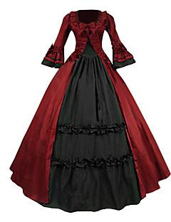 Ortaçağ Wiktoriańskie Kostüm Kadın's Parti Kostümleri Maskeli Balo Kırmızı Eski Tip Cosplay Dantel Pamuk Terylene Uzun Kollu