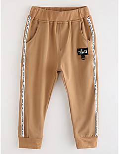 billige Drengebukser-Drenge Bukser Ensfarvet, Bomuld Efterår Kakifarvet