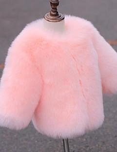 Χαμηλού Κόστους Winter Sale-Κοριτσίστικα Μπουφάν & Παλτό Ψεύτικη Γούνα Ειδικός τύπος γούνας Μονόχρωμο Χειμώνας Μακρυμάνικο Λευκό Ανθισμένο Ροζ Γκρίζο