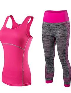 billiga Träning-, jogging- och yogakläder-Dam Yogakläder - Svart / röd, Svart / Blå, Svart / Guld sporter Hög midja Klädesset Ärmlös Sportkläder Torkar snabbt, Stretch Elastisk