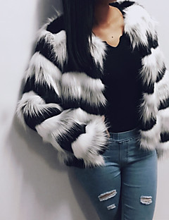 Women's Casual/Daily Work Simple Active Street chic Winter Fall Fur Coat,Solid Round Neck Long Sleeve Short Faux Fur Polyester Others