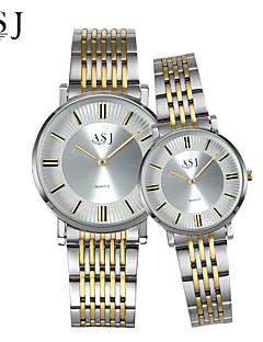 billige Par Ure-ASJ Par Armbåndsur Japansk Afslappet Ur Rustfrit stål Bånd Vedhæng / Mode Sølv