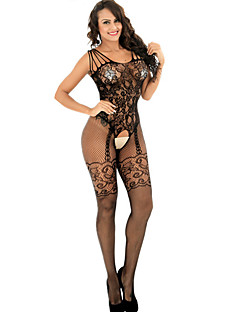 Women's Suits Nightwear Jacquard-Thin Polyester Spandex Black