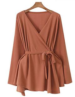 tanie Swetry damskie-Damskie Rozmiar plus Rozpinany Jendolity kolor Długi rękaw