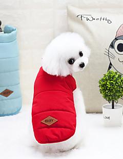 billiga Hundkläder-Katt Hund Kappor Väst Vinterkläder Hundkläder Bokstav & Nummer Gul Röd Blå Nylon Terylen Kostym För husdjur Vinter Ledigt/vardag Håller