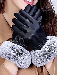 レディース 冬 アクセサリー 冬物手袋 防水 保温 防風 ラビット ポリウレタン 純色 手首丈 指先