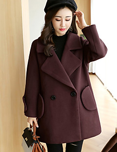 Women's Going out Street chic Winter Fall Coat,Solid Notch Lapel Regular Wool Cotton Polyester