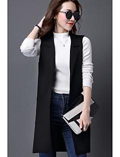 baratos Suéteres de Mulher-Mulheres Moda de Rua Sem Manga Colete - Sólido / Colarinho de Camisa / Primavera / Inverno