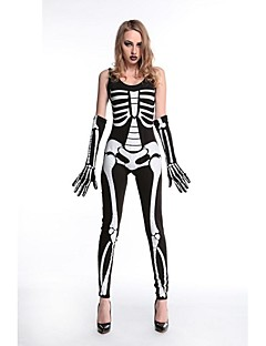 billige Voksenkostymer-Skjelett / Kranium Ghostly Bride Drakter Dame Halloween De dødes dag Festival / høytid Halloween-kostymer Svart Rutet