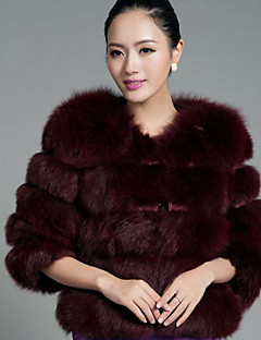 Women's Casual/Daily Simple Winter Fall Fur Coat,Solid Round Neck Short Fox Fur