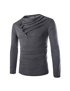 Herren Hahnentrittmuster Einfach Lässig/Alltäglich T-shirt,V-Ausschnitt Langarm Baumwolle