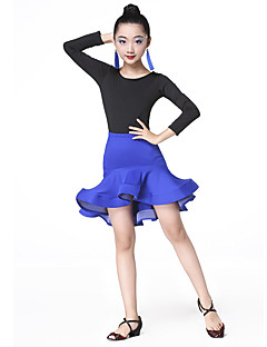 Shall We Latin Dance Outfits Children's Performance Milk Fiber Pleated Long Sleeve High Skirts Leotard