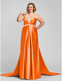 0df02737568c Χαμηλού Κόστους Φορέματα Μεγάλου Μεγέθους-Γραμμή Α Λαιμόκοψη V   Δένει στο  Λαιμό Μακρύ Σατέν