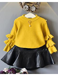 Mädchen Bluse Streifen einfarbig Baumwolle Acryl Herbst Winter Lange Ärmel