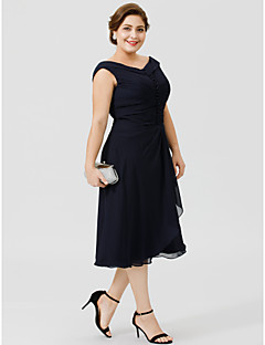 cheap Mother of the Bride Dresses-A-Line V Neck Tea Length Chiffon Mother of the Bride Dress with Buttons Pleats by LAN TING BRIDE®