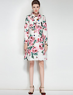 Dames Vintage Schattig Boho Herfst Winter Trenchcoat,Uitgaan Casual/Dagelijks Bloemenprint Overhemdkraag Lange mouw Normaal Polyester