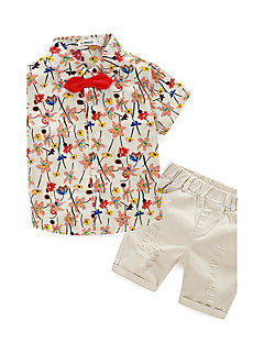Boys' Print Clothing Set,Cotton Summer Short Sleeve Beige