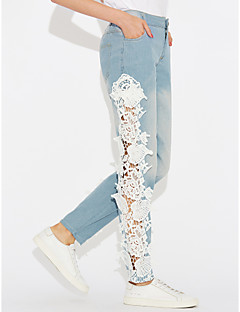 Women's Mid Rise strenchy Skinny Jeans Pants,Simple Skinny Jeans Lace Patchwork Lace