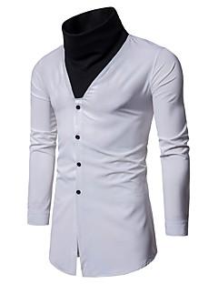お買い得  メンズシャツ-男性用 パーティー シャツ クリエィティブ スタンドカラー ソリッド