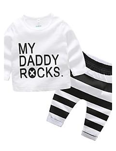 billige Sett med babyklær-Baby Drenge Tøjsæt Daglig Stribe, Bomuld Efterår Dragter Stribet Hvid
