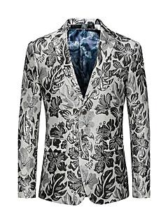 Erkek Polyester Uzun Kol Çentik Yaka Sonbahar Kış Geometrik Zıt Renkli Basit Actif Seksi Dışarı Çıkma Günlük/Sade Normal-Erkek Blazer