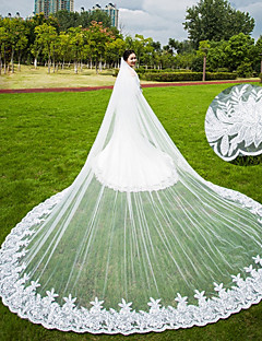 Two-tier Wedding Veil Chapel Veils Cathedral Veils With Applique Scattered Bead Floral Motif Style Lace Tulle