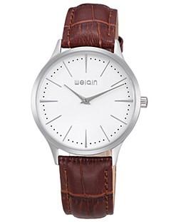 Herrn Modeuhr Armbanduhr Quartz Leder Band Schwarz Braun