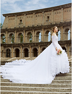 cheap Wedding Dresses-Ball Gown Off Shoulder Cathedral Train Lace Made-To-Measure Wedding Dresses with Lace / Sash / Ribbon / Flower by LAN TING BRIDE® / Illusion Sleeve / Open Back