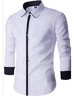 billige Herremote og klær-Bomull Langermet,Skjortekrage Skjorte Hundetannmønster Enkel Fritid/hverdag Herre