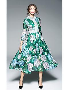 お買い得  レディースドレス-女性用 ストリートファッション スウィング ドレス フラワー ミディ シャツカラー