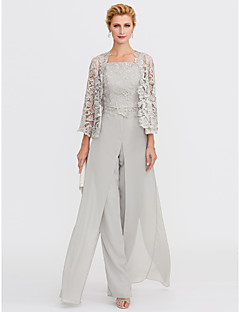 cheap Wedding Guest Dresses-Pantsuit Straps Floor Length Chiffon Corded Lace Mother of the Bride Dress with Appliques Lace Pleats Split Front by LAN TING BRIDE®