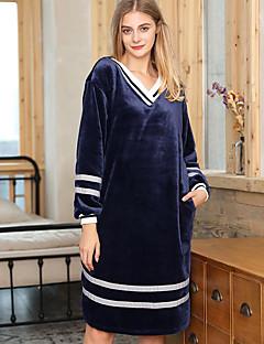 baratos Pijamas Femininos-Mulheres Decote V Baby-doll & Slip Pijamas Listrado