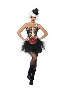 billige Voksenkostymer-Skjelett / Kranium Ghostly Bride Drakter Dame Halloween De dødes dag Festival / høytid Halloween-kostymer Svart Stribe Vintage
