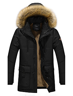 Men's Regular Padded Coat,Simple Casual/Daily Solid-Cotton Cotton Long Sleeves Hooded
