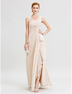 cheap Wedding Guest Dresses-Sheath / Column V-neck Floor Length Chiffon Lace Mother of the Bride Dress with Criss Cross Ruffles Split Front by LAN TING BRIDE®