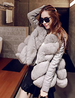 Women's Going out Street chic Winter Fur Coat,Solid Round Neck Long Sleeve Short Fox Fur