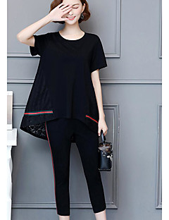 Women's Daily Casual Summer Blouse Pant Suits,Solid Round Neck Short Sleeve Cotton Micro-elastic