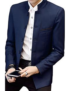 Erkek Pamuklu Akrilik Polyester Uzun Kol Dik Yaka Bahar Sonbahar Solid Basit Vintage Günlük/Sade Büyük Beden Normal-Erkek Blazer