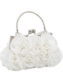 hesapli Balo Elbiseleri ve Aksesuarları-Kadın's Çantalar Saten Gece Çantası Çiçekli için Düğün / Davet / Parti Sonbahar Kış Siyah / YAKUT / Gümüş