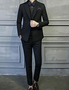Erkek Polyester Uzun Kol Çentik Yaka Sonbahar Kış Solid Basit Günlük/Sade Normal-Erkek Takım Elbise