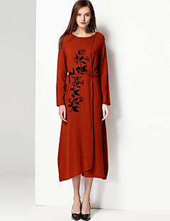 Feminino Longo Pulôver,Feriado Casual Vintage Simples Estampado Decote Redondo Manga Longa Lã Outono Inverno Média Micro-Elástica