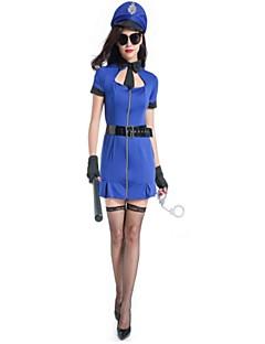 Soldat/Kriger Politi Cosplay Kostumer Kvinnelig Halloween Karneval Oktoberfest Festival/høytid Halloween-kostymer Blå Helfarve