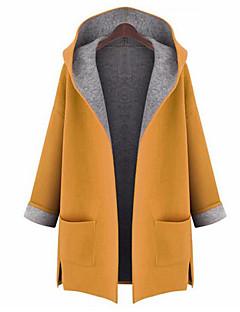 Damen Solide Street Schick Ausgehen Mantel,Mit Kapuze Herbst Langärmelige Lang Polyester