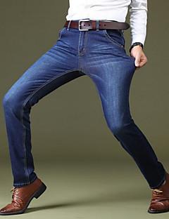 billige Herrebukser og -shorts-Herre Store størrelser Gatemote Elastisk Jeans Bukser, Høyt liv Bomull Ensfarget Alle årstider