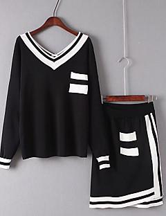 レディース ビーチ 夏 Tシャツ(21) スカート スーツ,セクシー Vネック ソリッド カラーブロック 長袖