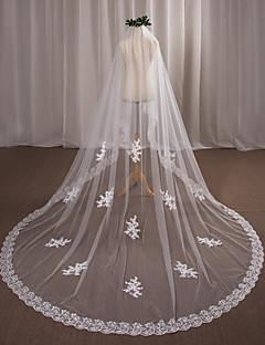 Недорогие -одноуровневые свадебные завесы с камином с аппликацией кружевные тюль свадебные аксессуары