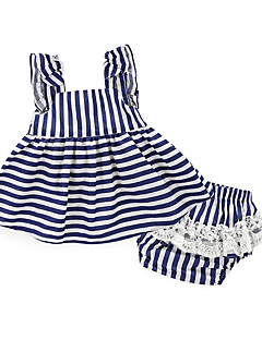 billige Sett med babyklær-Baby Pige Tøjsæt Daglig Helfarve Stribe, Bomuld Sommer Stribet Hvid Navyblå