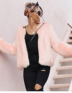 Women's Casual/Daily Work Simple Active Street chic Fall Winter Fur Coat,Solid V Neck Long Sleeve Short Faux Fur