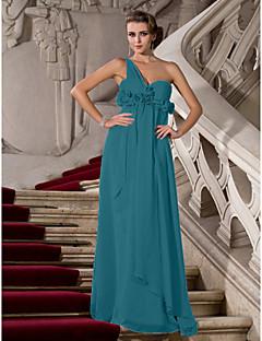 baratos Vestidos de Formatura-Tubinho Assimétrico Longo Chiffon Evento Formal Vestido com Franzido / Flor de TS Couture®